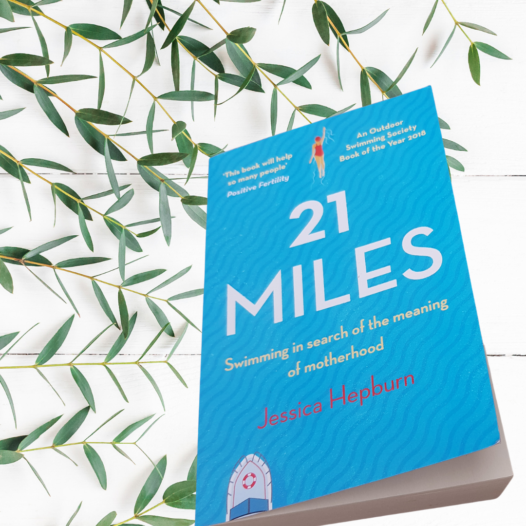 21 Miles book cover by Jessica Hepburn blue background ship and woman in red swimsuit illustrationg a book review by best fertility now