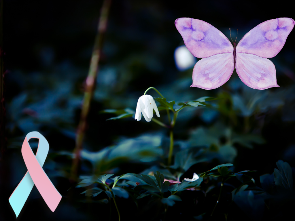 white snow drop on a dark green forest backgroundm purple butterfly in top right corner this is the symbol used to tell healthcare workers parents have had a baby loss and the pink and blue ribbion bottom left corner is the symbol for miscariage awareness