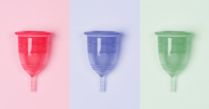 reb blue and green menstrual cup
