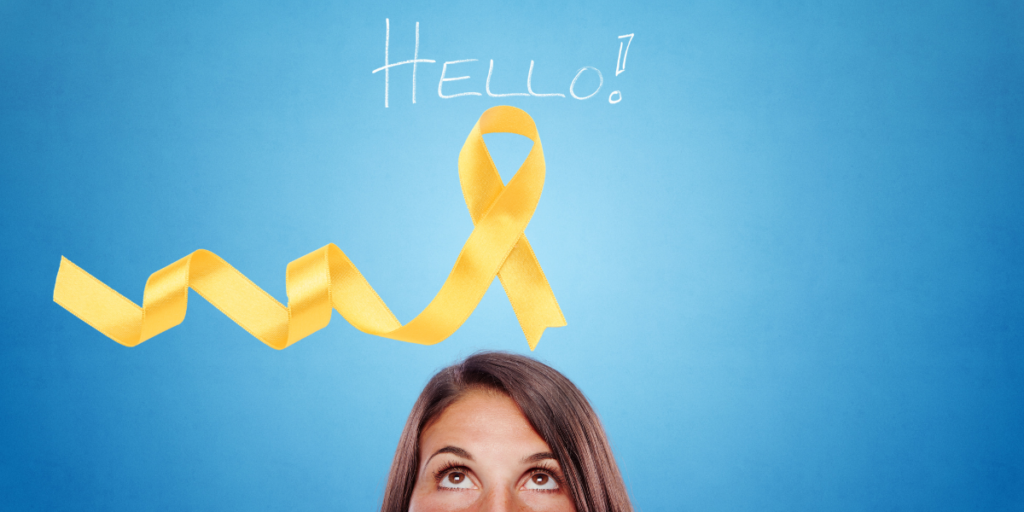 blue background woman looking up from centere bottom at the yellow endo awareness ribbon and the word hello!