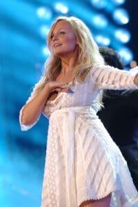 Emma Bunton in a white dress, illustrating Celebrities with endometriosis