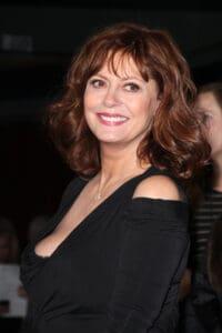 Susan Sarandon in a black a dress, illustrating Celebrities with endometriosis