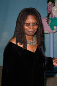 Whoopi Goldberg in a black a dress, illustrating Celebrities with endometriosis